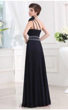 A-line Chiffon Dark Navy One Shoulder Floor-length Evening Dress(JT2665)