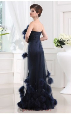 Trumpet/Mermaid Tulle Navy Blue One Shoulder Floor-length Evening Dress(JT2666)