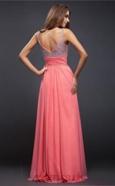 A-line Chiffon Pink V-neck Floor-length Evening Dress(JT2669)
