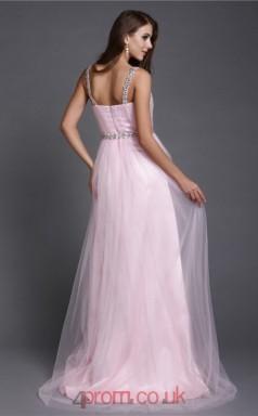 A-line Tulle Blushing Pink Straps Floor-length Formal Prom Dress(JT2670)