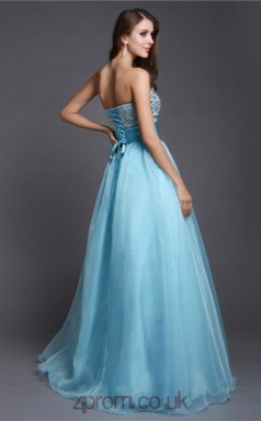 A-line Tulle Pool Sweetheart Floor-length Evening Dress(JT2673)