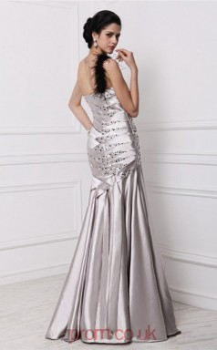Trumpet/Mermaid Stretch Satin Silver Straps Floor-length Evening Dress(JT2680)