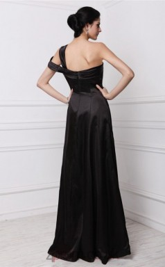 Sheath/Column Stretch Satin Black One Shoulder Floor-length Formal Prom Dress(JT2682)