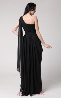 A-line Chiffon Black One Shoulder Floor-length Formal Prom Dress(JT2689)