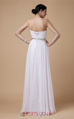 A-line Chiffon White Sweetheart Floor-length Evening Dress(JT2691)