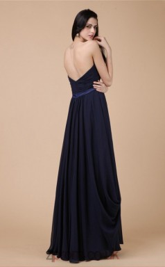 A-line Chiffon Navy Blue Strapless Floor-length Formal Prom Dress(JT2693)