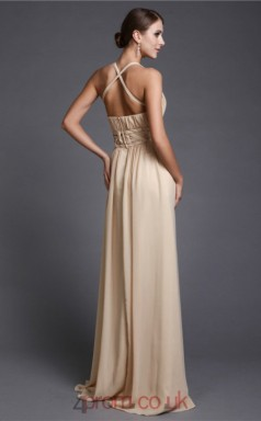 A-line Chiffon Champagne V-neck Floor-length Formal Prom Dress(JT2695)
