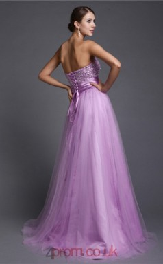A-line Tulle Lilac Strapless Floor-length Formal Prom Dress(JT2696)