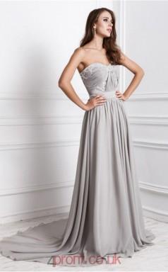 A-line Chiffon Silver Sweetheart Long Formal Prom Dress(JT2697)