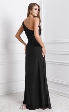 Sheath/Column Chiffon Black One Shoulder Floor-length Formal Prom Dress with Split Side(JT2698)