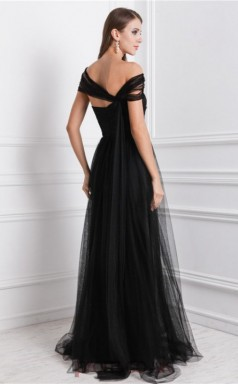 A-line Tulle Black Asymmetric Floor-length Formal Prom Dress(JT2699)