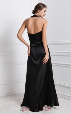 A-line Charmeuse Black Halter Asymmetrical Formal Prom Dress(JT2700)