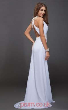 White Chiffon Sheath/Column Halter Floor-length With Split Front Prom Formal Dresses(JT2704)