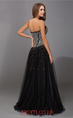 Black Tulle Princess Sweetheart Floor-length Evening Dresses(JT2706)