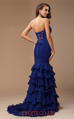Blue Chiffon Trumpet/Mermaid Sweetheart Floor-length With Split Front Evening Dresses(JT2711)