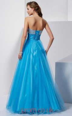 Ocean Blue Tulle A-line Sweetheart Floor-length Evening Dresses(JT2730)