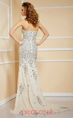 Beige Chiffon Trumpet/Mermaid Sweetheart Floor-length With Split Side Evening Dresses(JT2736)