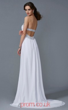 White Chiffon A-line Strapless Floor-length Evening Dresses(JT2744)