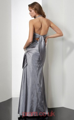 Silver Taffeta Sheath/Column Halter Floor-length Prom Formal Dresses(JT2746)