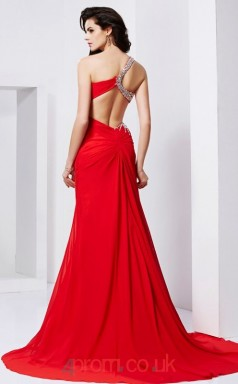 Red Chiffon Sheath/Column One Shoulder Floor-length With Split Side Evening Dresses(JT2757)