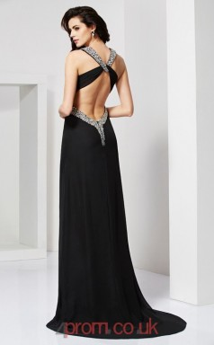 Black Chiffon Sheath/Column v-neck Floor-length Evening Dresses(JT2758)