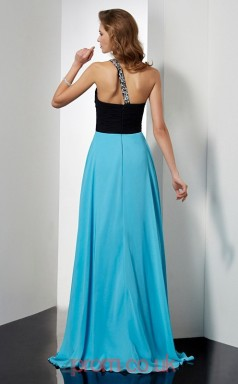 Pool Chiffon A-line One Shoulder Floor-length Evening Dresses(JT2761)