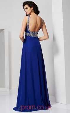 Light Royal Blue Chiffon A-line Halter Floor-length Evening Dresses(JT2762)