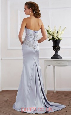 Silver Stretch Satin Trumpet/Mermaid Straps Floor-length Evening Dresses(JT2763)