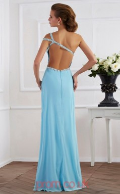 Light Pool Chiffon Trumpet/Mermaid One Shoulder Floor-length With Split Side Evening Dresses(JT2765)