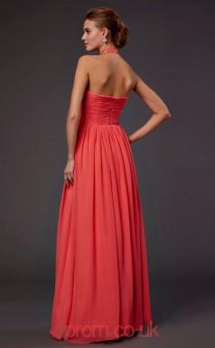 Watermelon Chiffon A-line Halter Floor-length Evening Dresses(JT2772)