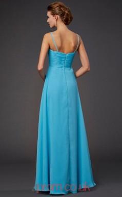 Light Pool Chiffon A-line Straps Floor-length Evening Dresses(JT2777)