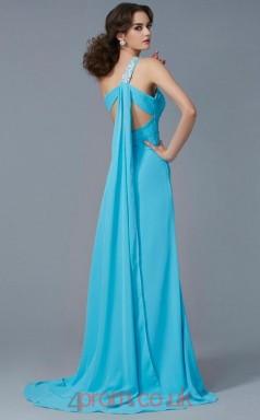 Pool Chiffon Sheath/Column One Shoulder Floor-length With Split Side Evening Dresses(JT2786)