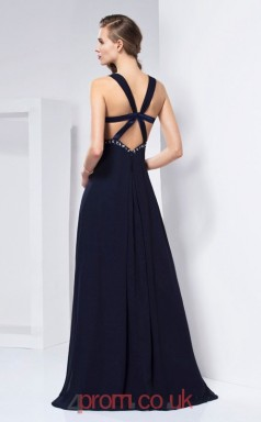 Dark Navy Chiffon Sheath/Column Straps Floor-length With Split Side Prom Formal Dresses(JT2787)