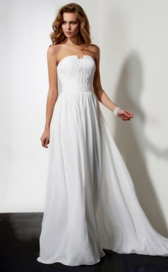 Ivory Chiffon A-line Strapless Asymmetrical Wedding Formal Dresses(JT2801)