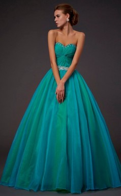 Turquoise Tulle Ball Gown Sweetheart Floor-length Prom Formal Dresses(JT2805)