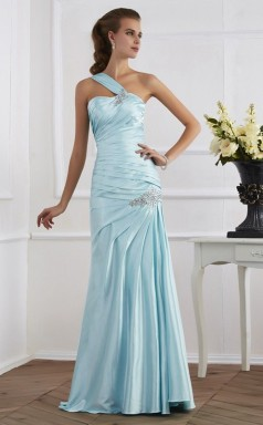 Lavender Charmeuse Trumpet/Mermaid One Shoulder Floor-length Bridesmaid Dresses(JT2811)