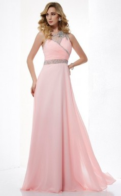 Sky Blue Chiffon A-line One Shoulder Floor-length Bridesmaid Dresses(JT2812)