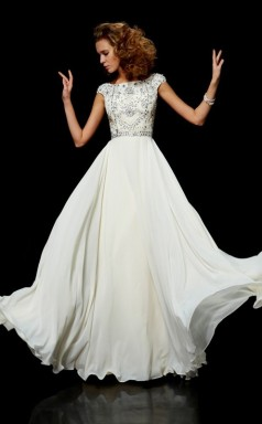 Watermelon Chiffon A-line Bateau Short Sleeve Floor-length Bridesmaid Dresses(JT2816)