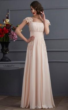 Dim Gray Chiffon A-line Square Short Sleeve Floor-length Bridesmaid Dresses(JT2822)