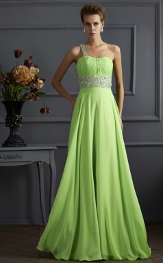 Jade Chiffon A-line One Shoulder Floor-length Bridesmaid Dresses(JT2824)