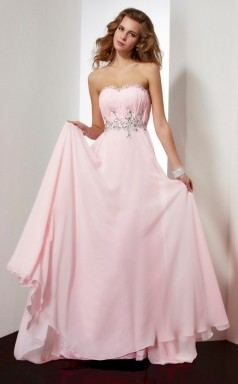 Blushing Pink Chiffon A-line Strapless Floor-length Bridesmaid Dresses(JT2826)