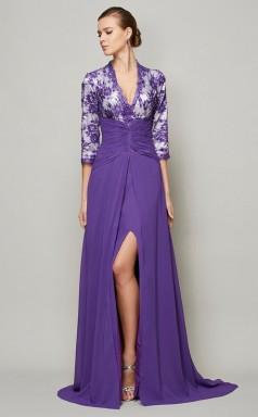 Light Coffee Lace Chiffon Sheath/Column v-neck Half Sleeve Floor-length Bridesmaid Dresses(JT2828)