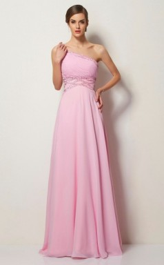 Candy Pink Chiffon A-line One Shoulder Floor-length Prom Formal Dresses(JT2831)
