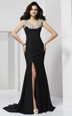 Black Chiffon Trumpet/Mermaid v-neck Floor-length Prom Formal Dresses(JT2832)