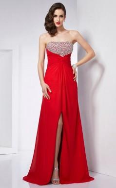 Red Chiffon A-line Strapless Floor-length Bridesmaid Dresses(JT2835)