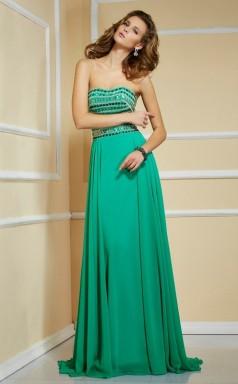 Jade Chiffon A-line Strapless Floor-length Bridesmaid Dresses(JT2837)
