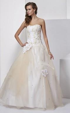 Beige Tulle A-line Strapless Floor-length Bridesmaid Dresses(JT2838)