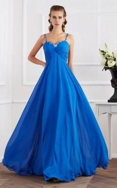 Light Royal Blue Chiffon A-line Straps Floor-length Prom Formal Dresses(JT2843)