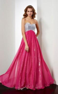 Fuchsia Sequined Chiffon A-line Sweetheart Floor-length Prom Formal Dresses(JT2847)