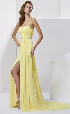 Yellow Chiffon A-line Sweetheart Floor-length Prom Formal Dresses(JT2849)